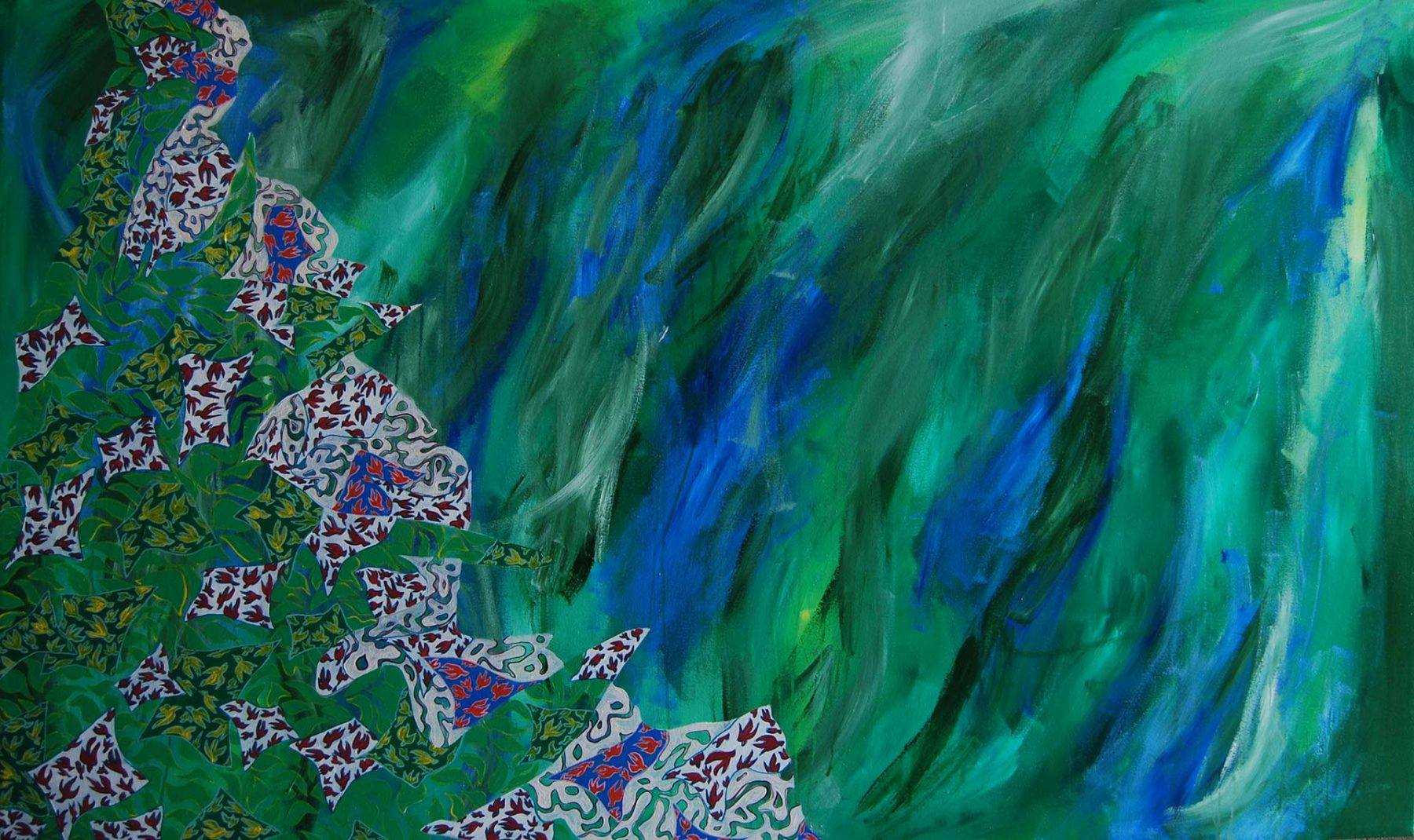 Spring Fajr Landscape (2008) acrylic on canvas, 0.91H x 1.52W meters