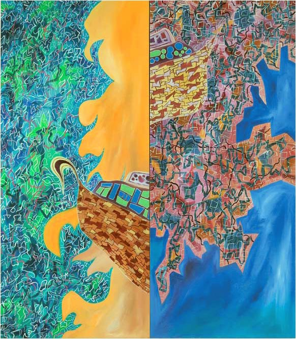 The Flood (2007) oil on canvas (2 panels) 1.37H x 1.22W meters