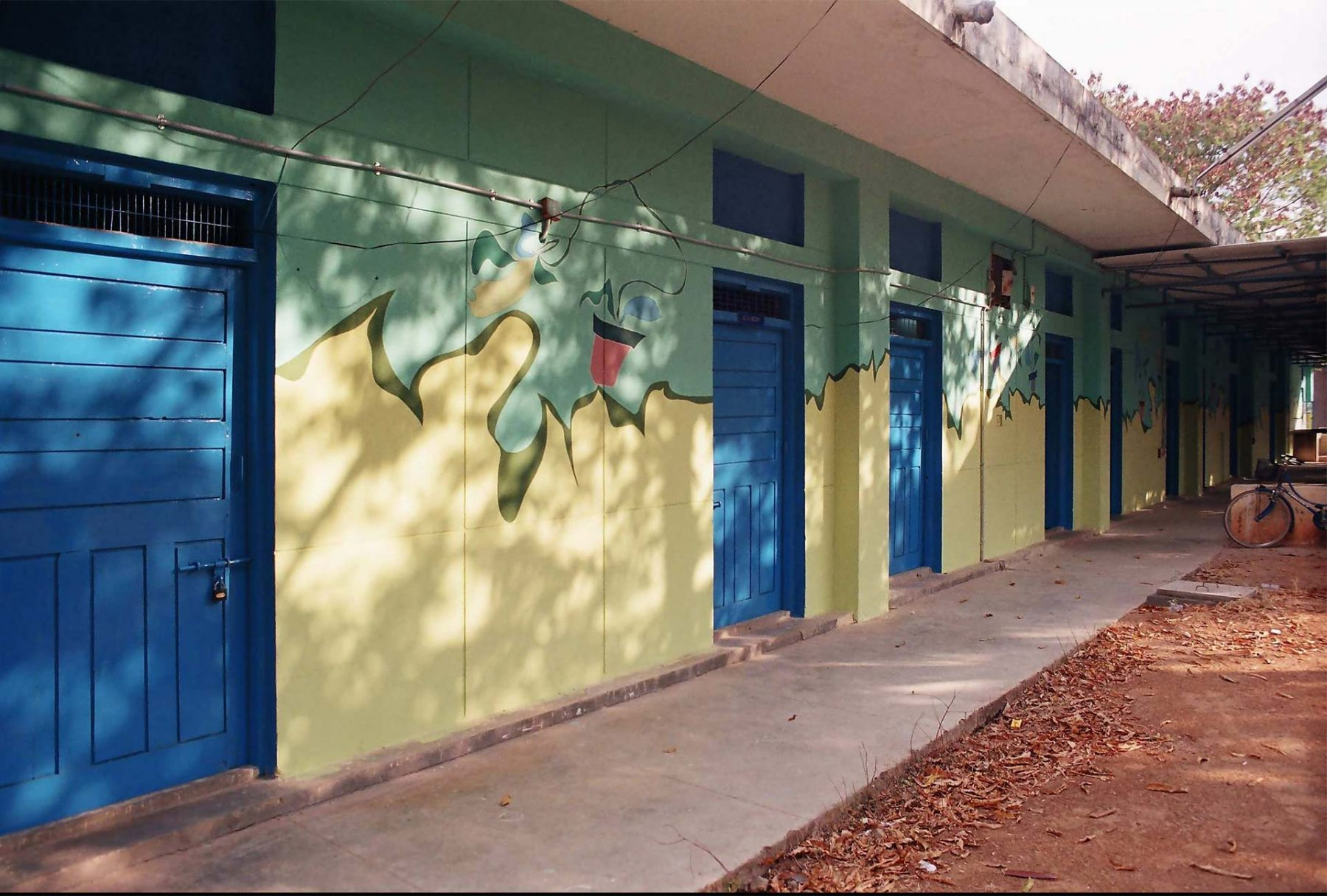 Potted Plants (2005) S.N. School of Fine Arts, University of Hyderabad, series of 9 walls each 3.5H x 5.8W meters, Hyderabad (India)