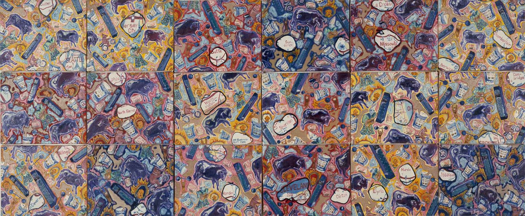 Circus (Puddles with Gum) (2001) oil on canvas (18 Panels) 0.69H x 1.62W meters