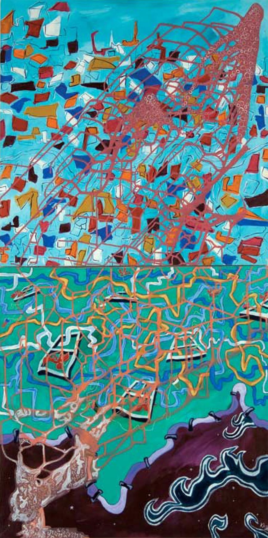 Flood in the Sky (2007) acrylic on canvas, 1.68H x 0.84W meters