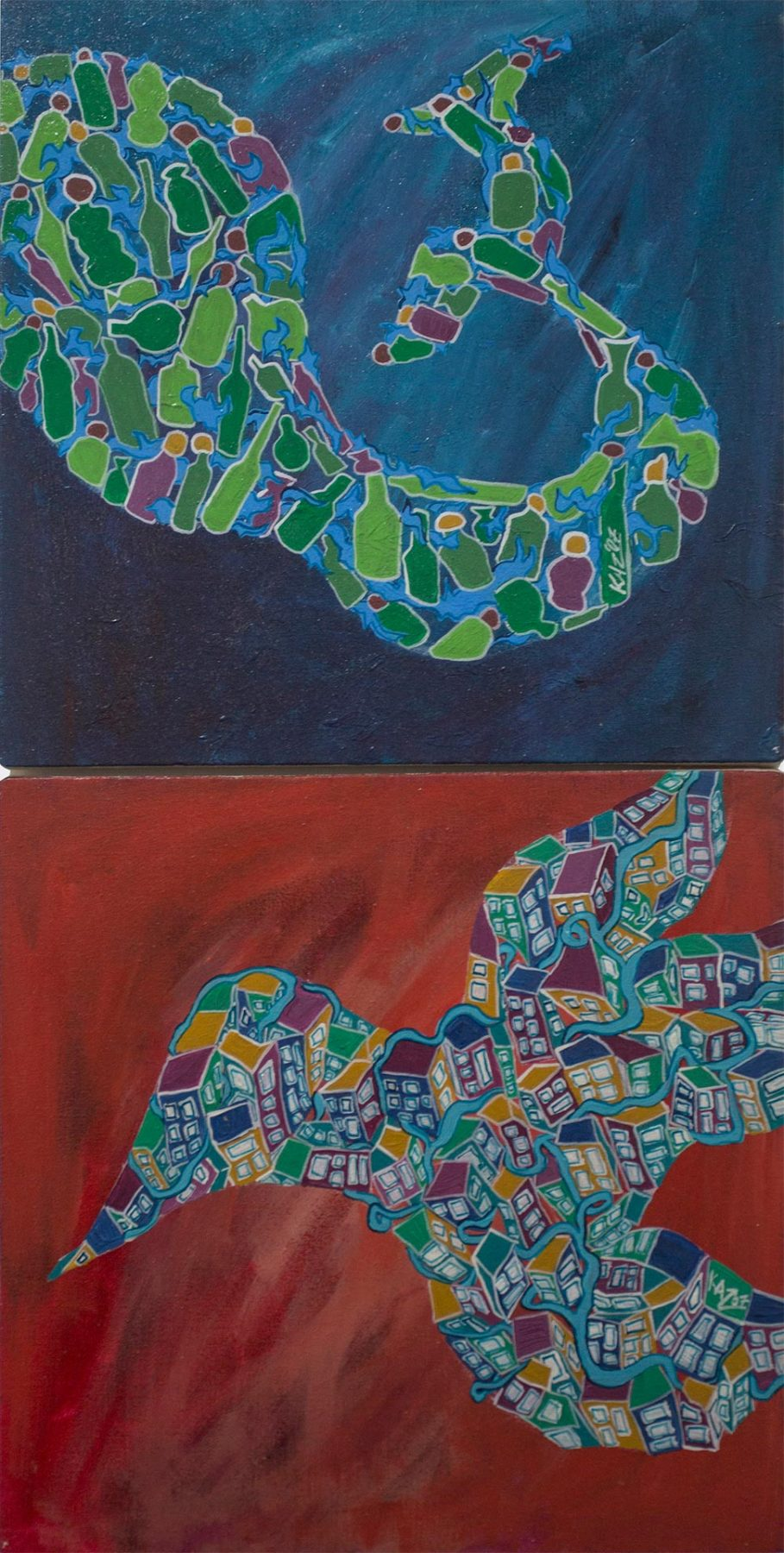 Composite Fish and Bird (2007) acrylic on canvas (2 panels) 0.60H x 0.30W meters