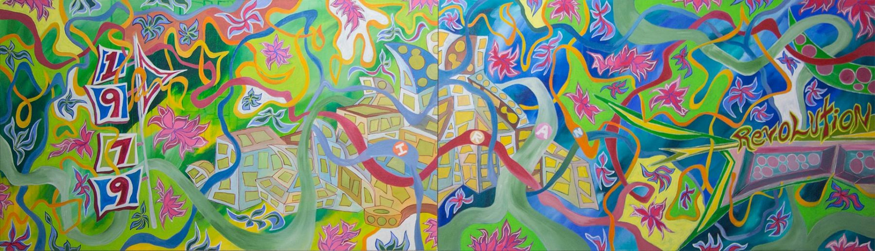 Revolutionary Diner (2013) acrylic on canvas (3 panels) 0.71H x 2.54W meters