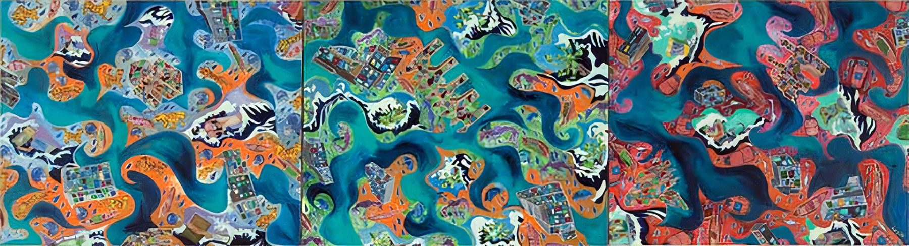 Dhaka Flood of 2004 (2006) oil on canvas (3-panels) 0.61H x 2.29W meters