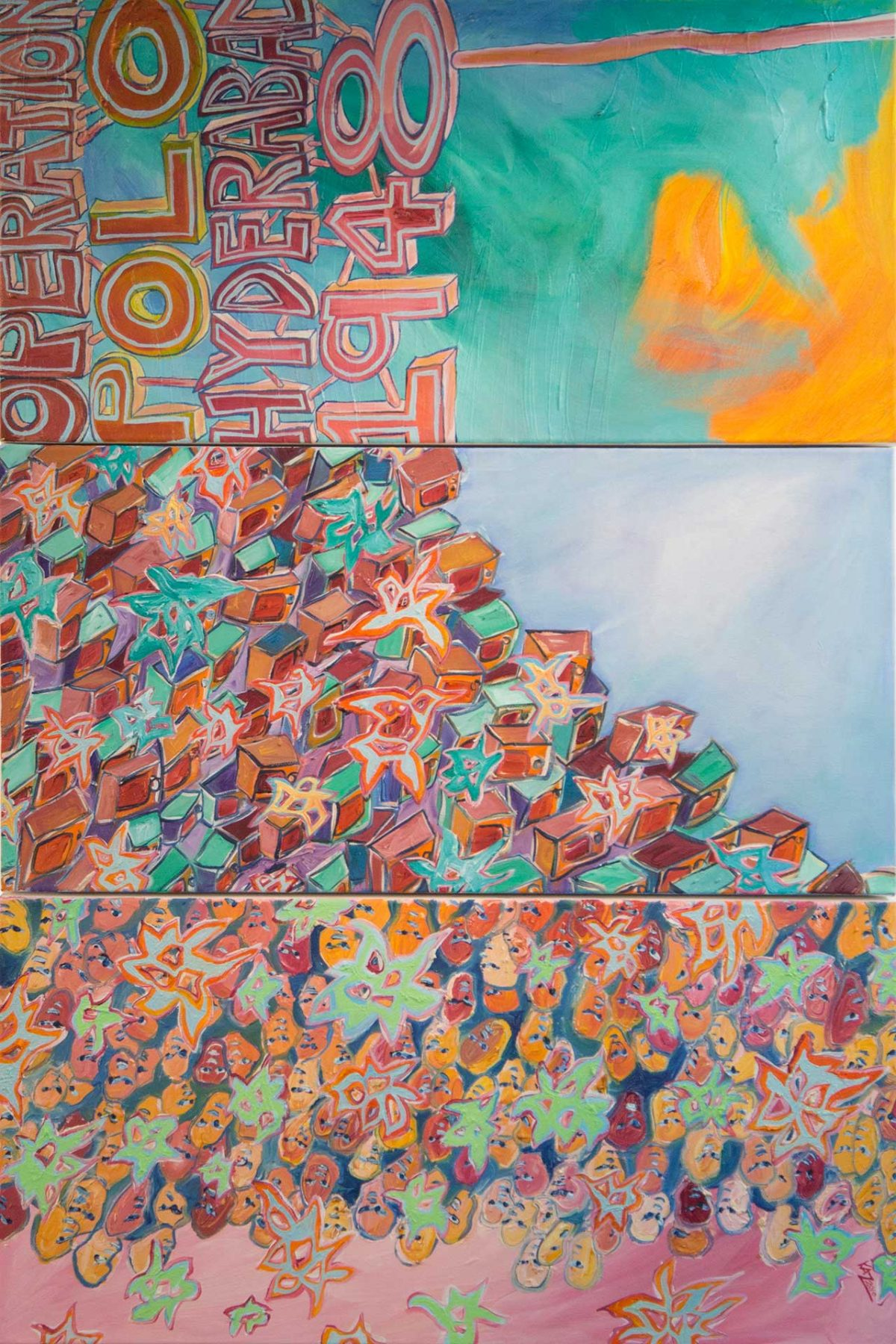 Operation Polo (2009) oil on canvas (3 panels) 0.91H x 0.61W meters