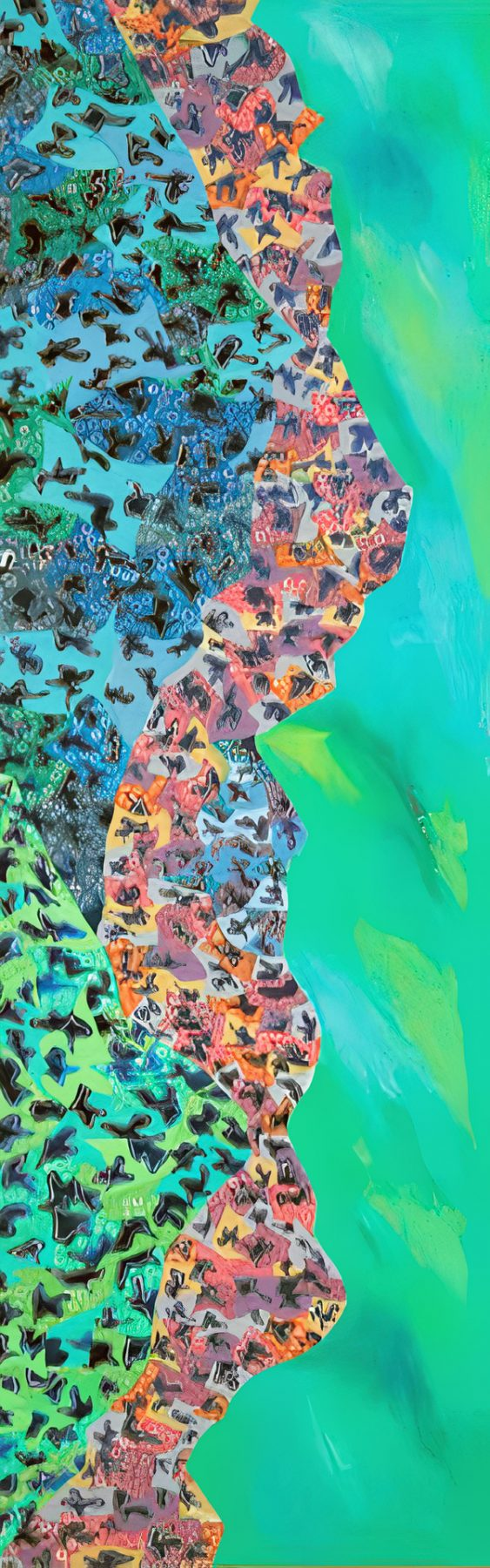 Fajr (2007) oil on canvas, 1.52H x 0.46W meters