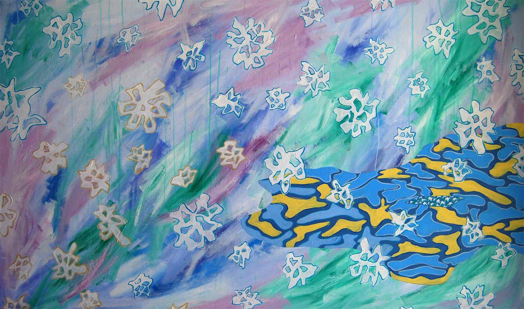 Winter Isha Landscape (2008) acrylic on canvas, 0.91H x 1.52W meters