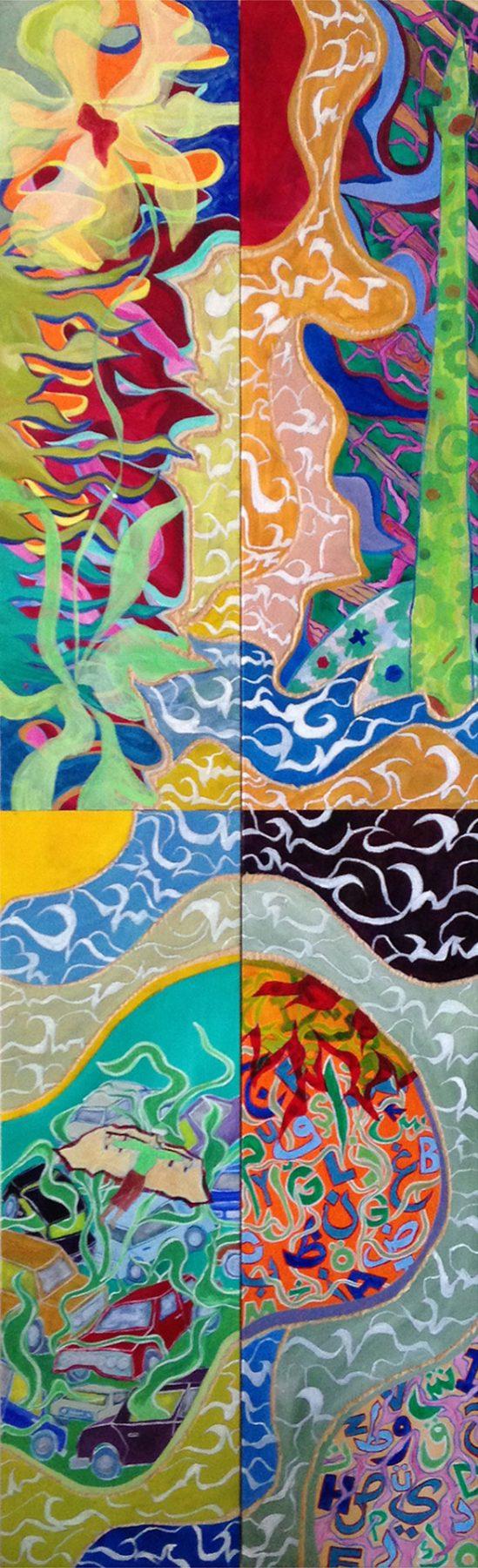 Hezârfen (2016) acrylic on wood (4 panels) 1.60H x 0.51W meters