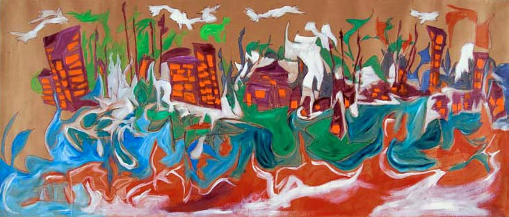 Hyderabad Monsoon (2006) acrylic on paper, 1.22H x 2.74W meters