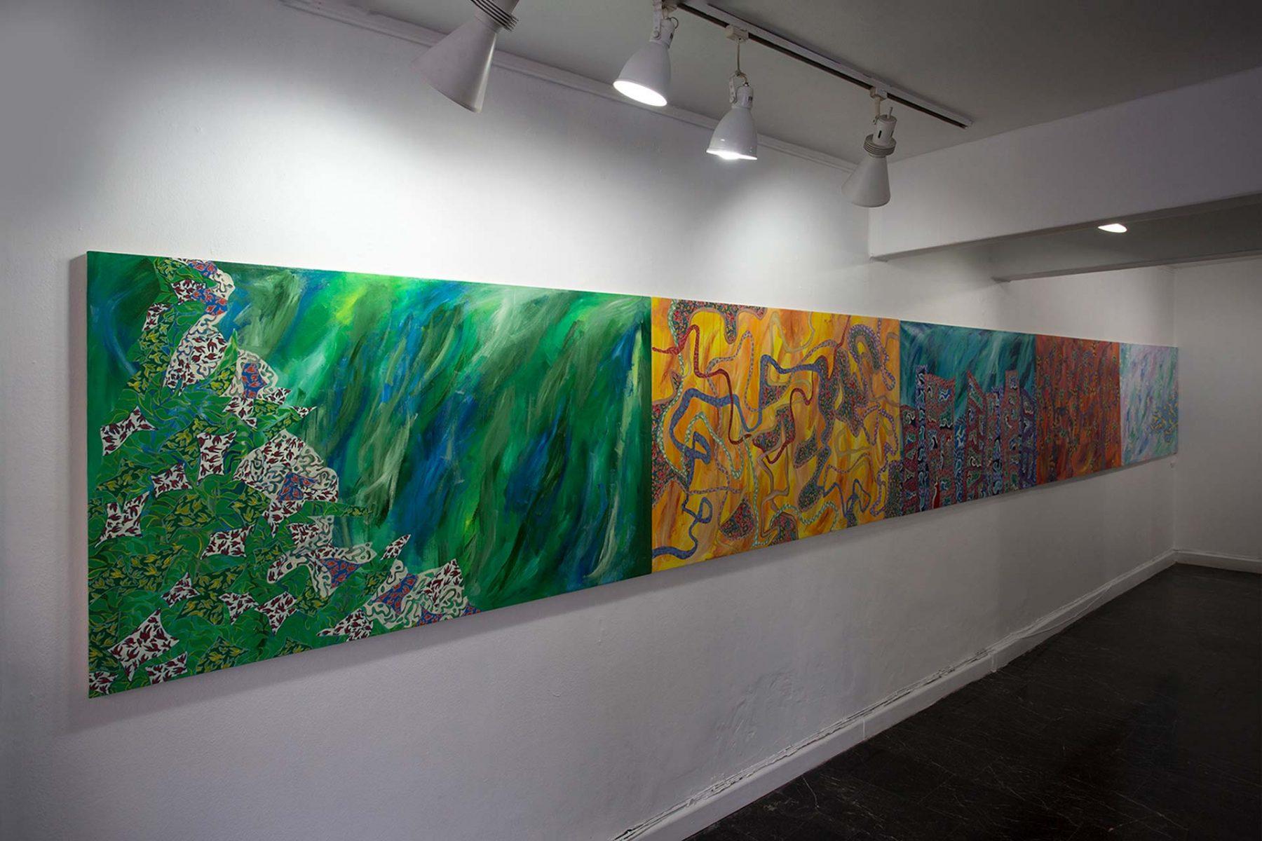 Salaat (Five Seasons) view 1 (2008) acrylic on canvas (5 panels) 0.91H x 7.62W meters