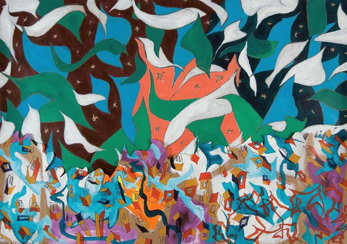 Ontario Winter Landscape (2007) acrylic on paper, 1.22H x 1.98W meters