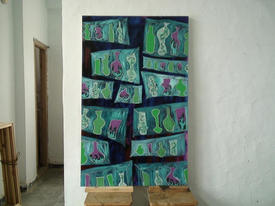 Alchemistic Still Life (2007) acrylic on canvas, 1.22H x 0.76W meters