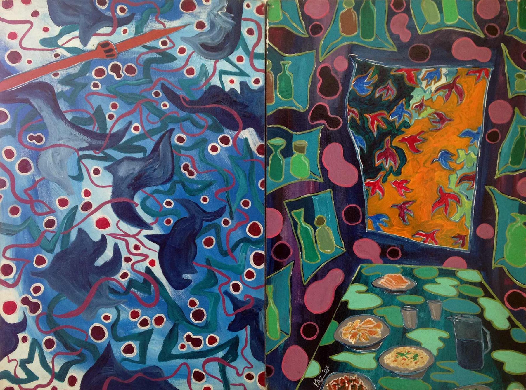 Alchemistic Cafe (2007) acrylic on canvas, 2 panels, 0.47H x 0.62W meters