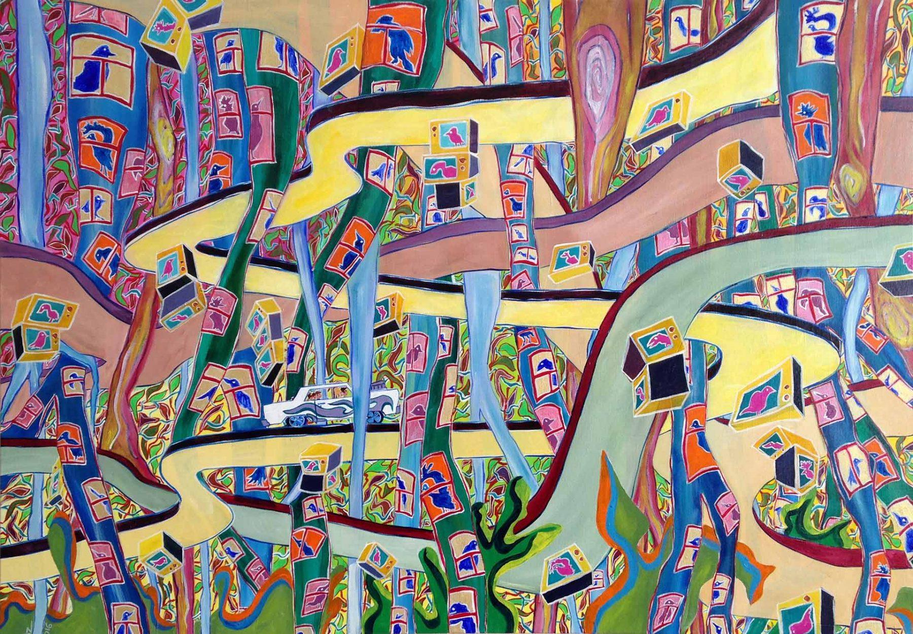 Video Birdland (2016) acrylic on canvas, 0.70H x 1W-meters